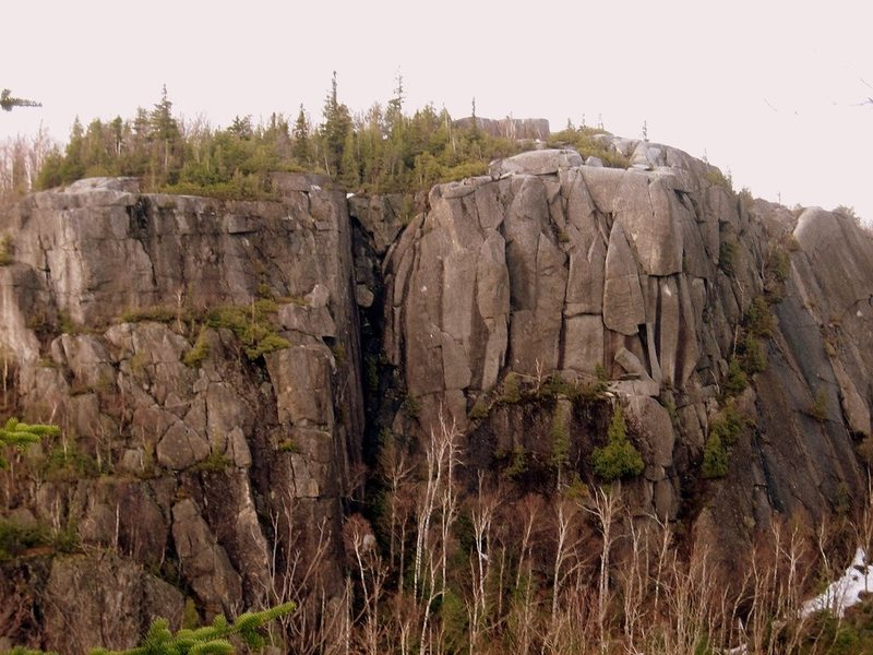 Section 13 crag as viewed from the opposite wall of the ravine.
