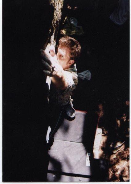 Paul Jones on the lake boulder