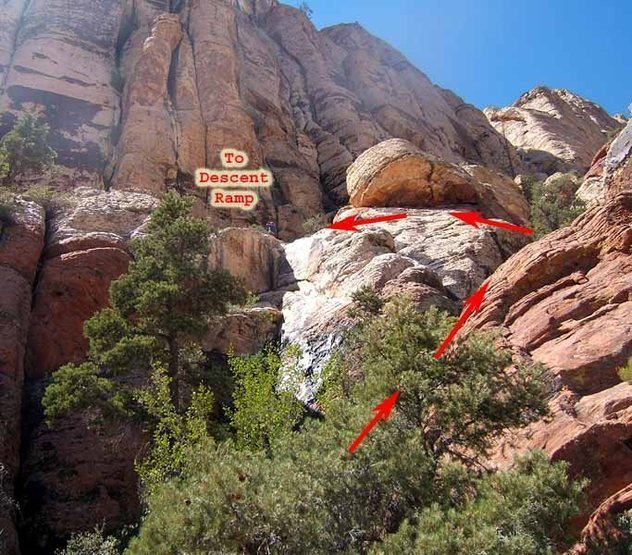 From the top of the route, there is still some scrambling to reach the descent ramp.