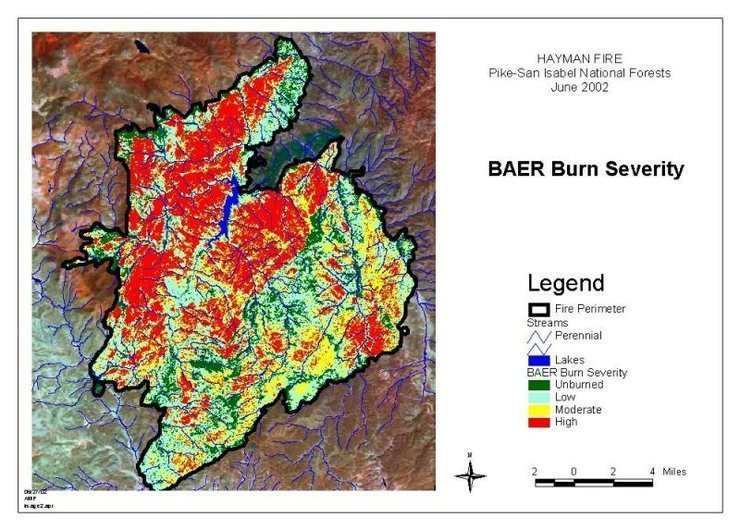 burn area of the Hayman fire, 2002.<br> Cheesman Reservoir is near the center to put it in perspective.