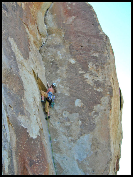 Michelle on Course & Buggy, enjoying the security of a hand jam after the thin crux stems.