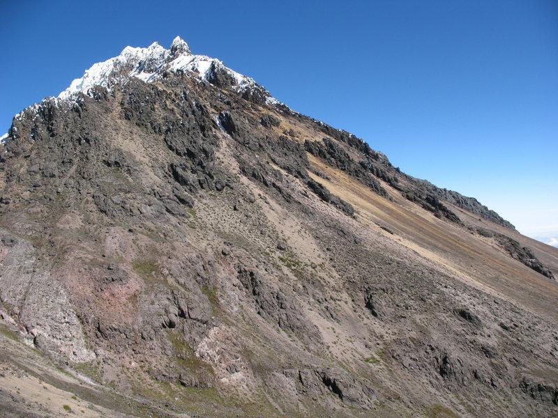 Illiniza Norte as seen from the trail near the refugio.
