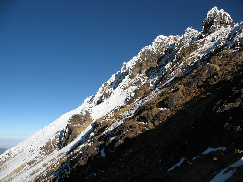 The summit of Illiniza Norte as seen from partway up the Normal Route.