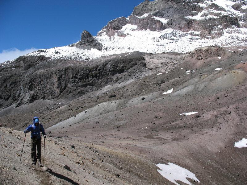 The start of the Normal Route, Illiniza Norte. Illiniza Sur is in the background.