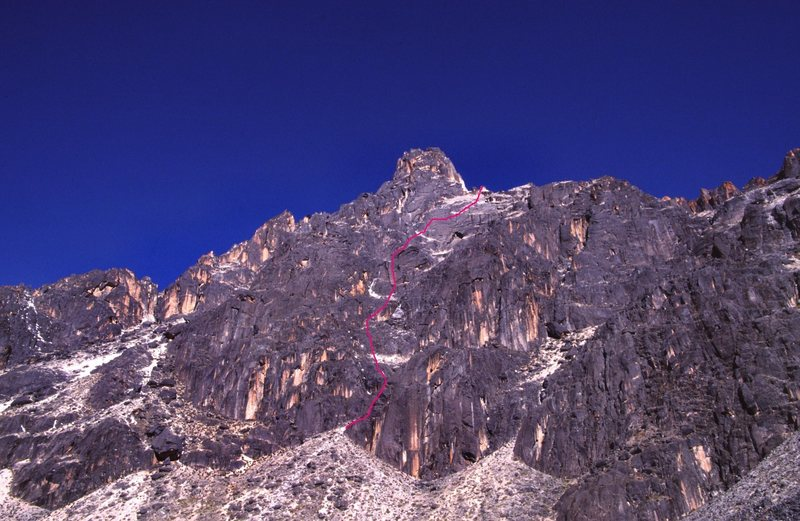 This is roughly where our route went. There was evidence of other climbers on this massive wall.