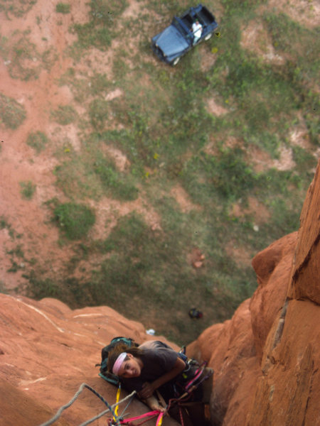 Lucas Laeser at the belay on the FA of the east face, Venus Needle. Navajo Leo Watchman, who carted all our gear out in his Jeep, is watching below.