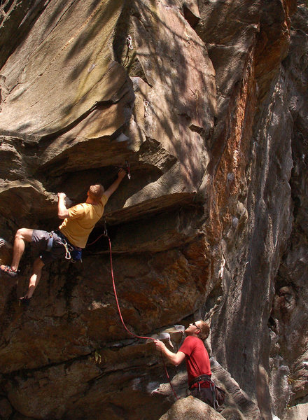 Sam Todzia making the last big juggy move before the technical upper part of the route.