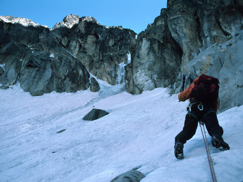 """Benny Bach on the """"South Face"""" of Mt Kenya."""