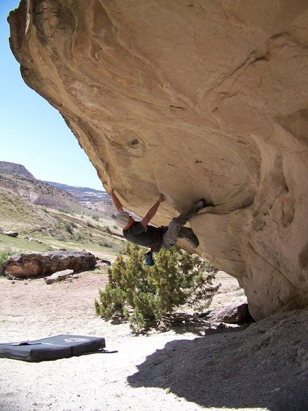 Pulling on the overhang.