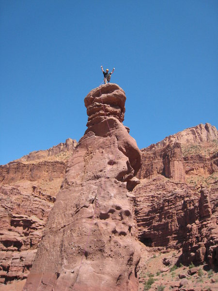Practicing the Karate Kid crane kick on Lizard Rock, Fisher Towers.
