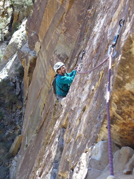 Joe Chorny on P3 traverse of DOWT