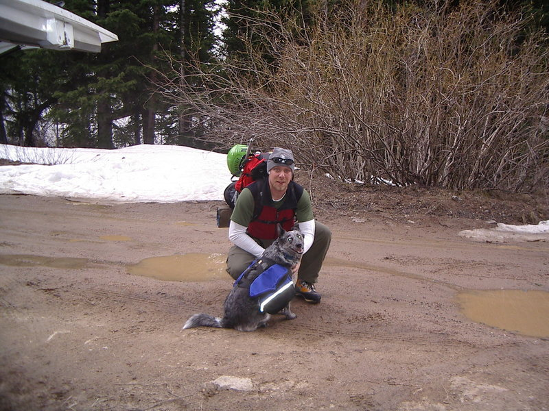 Me and my mutt heading for the Lost Rat Couloir!  I was sick that day and lost all  my gumption at the bottom of the couloir.