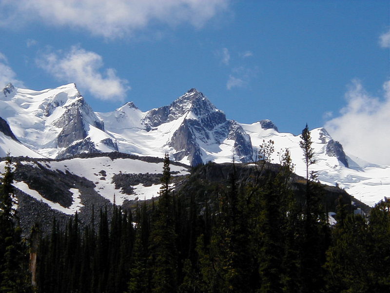 Mts. Austerity (right) and Adamant (left) from the Fairy Meadows side of the range.