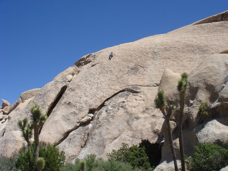 Jason Partin searching for Klingons amidst the small indentations of the upper slab, high above the last pro.
