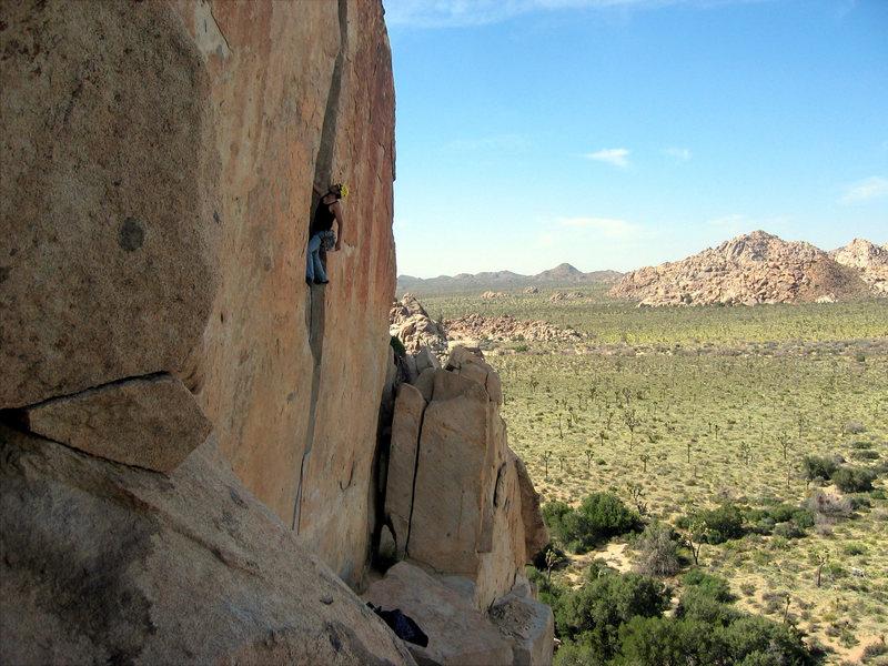 Jorge climbing O'Kelly's Crack