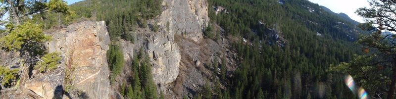 Panorama from the top of Batwall in Cougar Canyon, I think that's Cougar wall and Grey wall