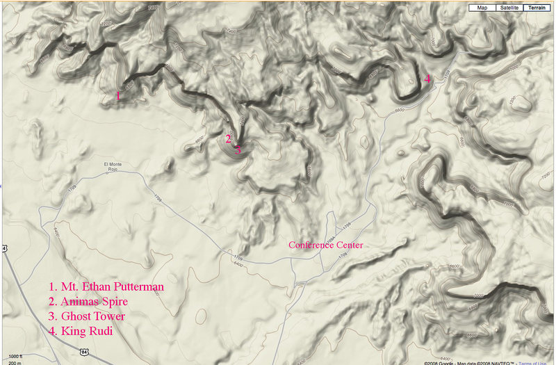 An overview of Ghost Ranch showing the main conference area. Hwy 84 is on the lower left. The four main towers are marked.
