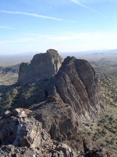 Looking south at Lanfair Valley from the summit of Castle Peaks in the Mojave Preserve.<br> <br> 4/30/08