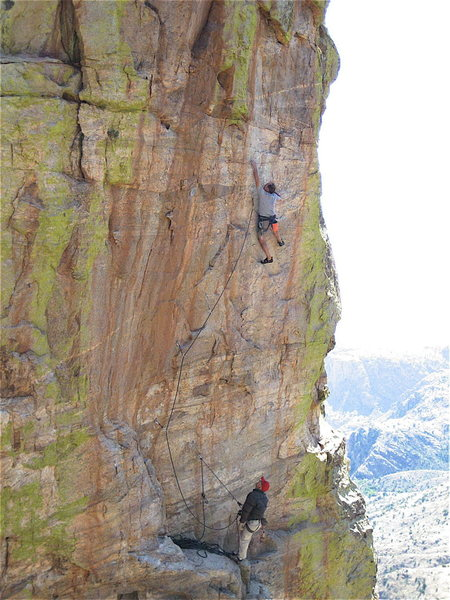 """Peter Noebels on Serfs Up 5.12- at the super secret, not so new """"show and tell"""" only area.  We would post it up but we don't want Isolation Canyon Manny ruining our cool new sport area by putting up trad routes.  Jimbo made me type this Manny.  We had a good laugh when we thought it up, hope you do too!"""