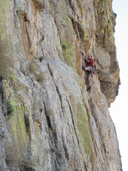 Peter Noebels on new route at the ..... area.  It is part of the show and tell only area we sport bolters are trying to keep trad climbers from ruining.
