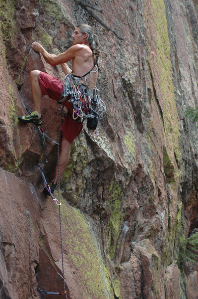 Wayne Crill on Foxtrot before 1st ascent of Tango.