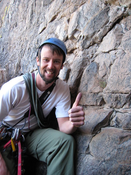 Rock Climbing Photo: Devin Shunk looking stoked after leading the first...