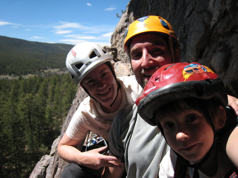 Happy family at the first belay of Packrat Dihedral. May 3, 2008. Can't wait to have Miles in these pics!