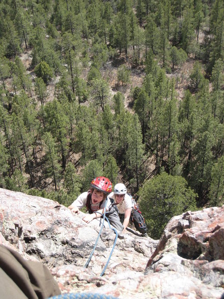 Cody and Rachael approaching the top of Packrat Dihedral. Soooo much fun! May 3, 2008.