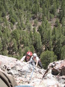 Rock Climbing Photo: Cody and Rachael approaching the top of Packrat Di...
