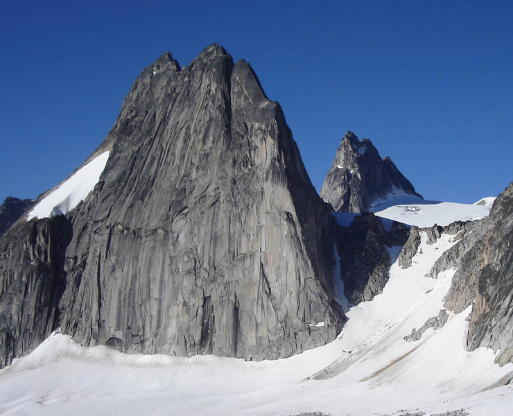 Shot of Snowpatch Spire from the beginning of a route on Crescent Towers in July 2007.  Try to beat that Bugaboo weather!