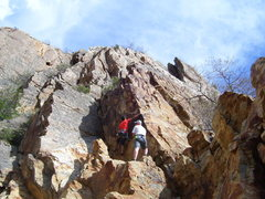 Rock Climbing Photo: Tristan getting started. The climb is steeper than...
