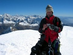 Rock Climbing Photo: My pal Dale Wagner, on Tocllaraju's summit, with h...