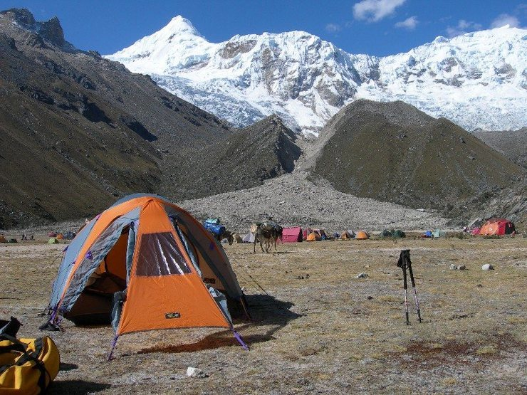 Base Camp in the Ishinca Valley. Tocllaraju in the backround.