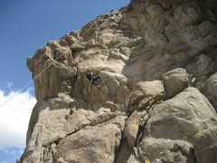 Rock Climbing Photo: Turbo at the thin flake crux.