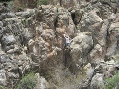 Rock Climbing Photo: Ryan on Lead at the second bolt.