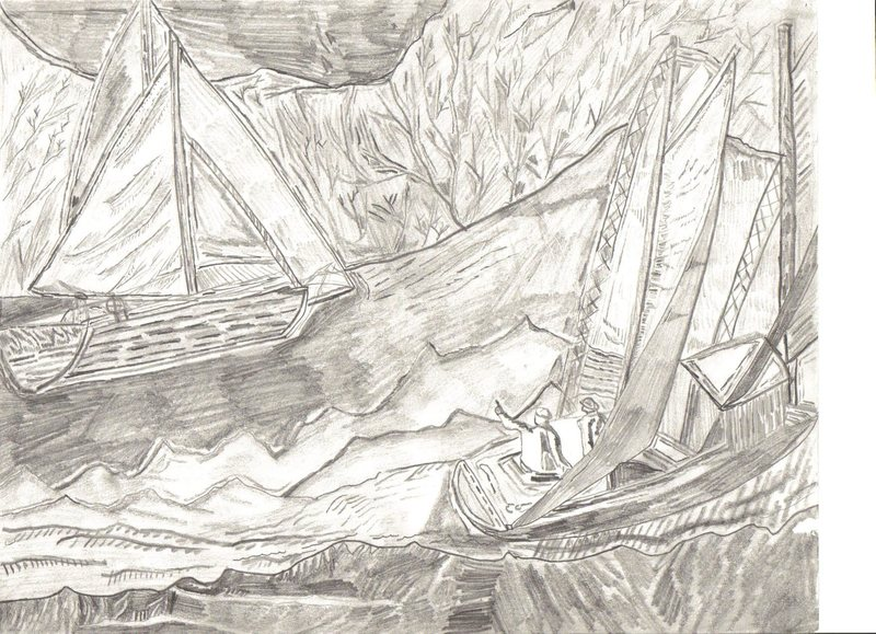 Pencil Sketch I did while I was bored in class... Sailing in Labrador, Canada.