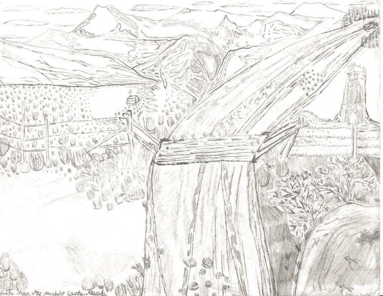Santa Rosa Mountains, Paradise Valley, Nevada.  Pencil and Charcoal.  Fall 2007.