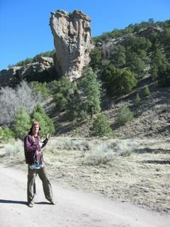 Posing with my rack in front of Enchanted Tower, New Mexico, just to be silly haha...