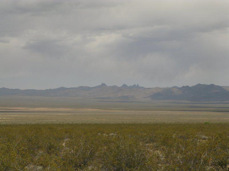 Castle Peaks as seen from Ivanpah Valley