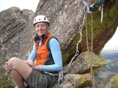 Rock Climbing Photo: Tracy at the rap anchor. This rock arch is pretty ...