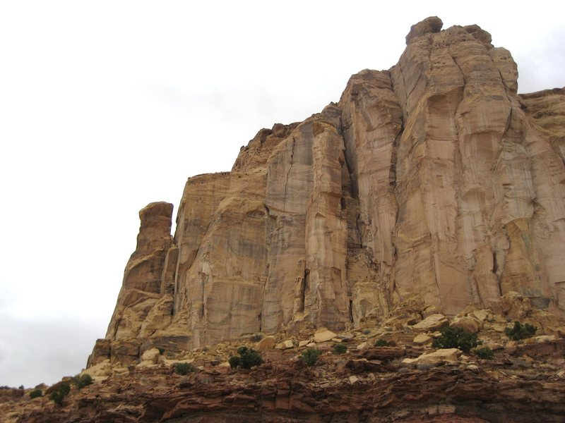 The Little Weasel spire is located on the far left of the photo .The route Ozymandias climbs directly up the highest part of the Weasel Tower