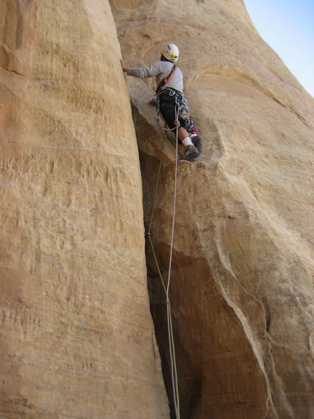 Rock Climbing Photo: Starting the 100' crack pitch 2