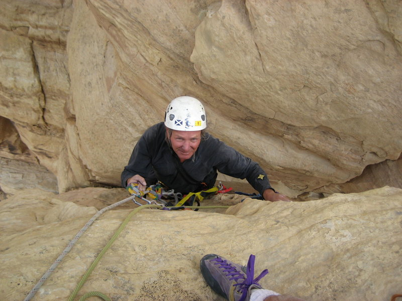 Rock Climbing Photo: Layne topping out