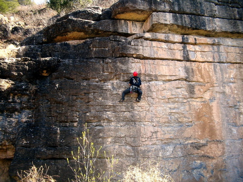 Rock Climbing Photo: A good view of the short dyno about 3/4 of the way...