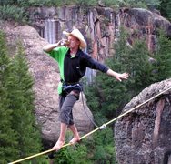 Rock Climbing Photo: This one time.. The Larry sent a 48' highline whil...