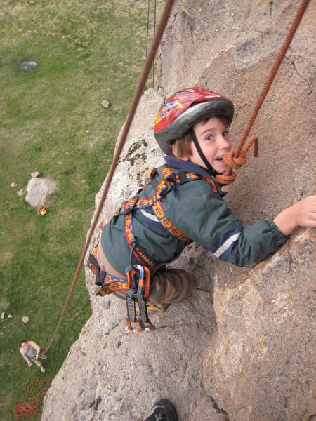Rock Climbing Photo: Gaining the final ledge just before the anchors on...