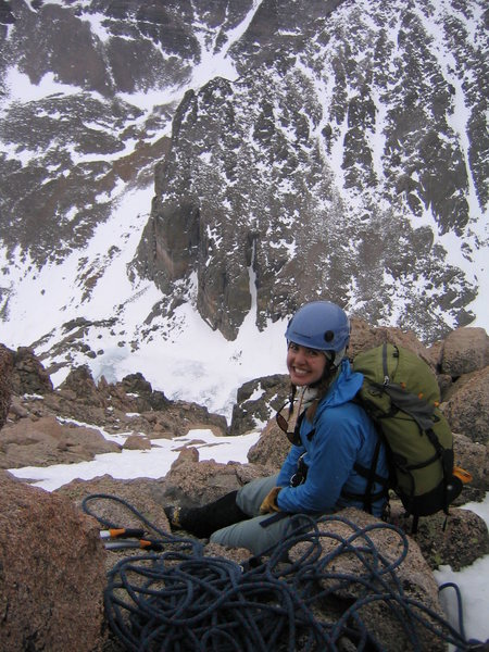 Rock Climbing Photo: Danielle Lewis at top of Martha, 4 May 2008, about...