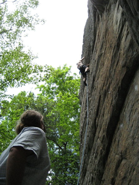 Stephen at the bulge, Jake on Belay. May 08