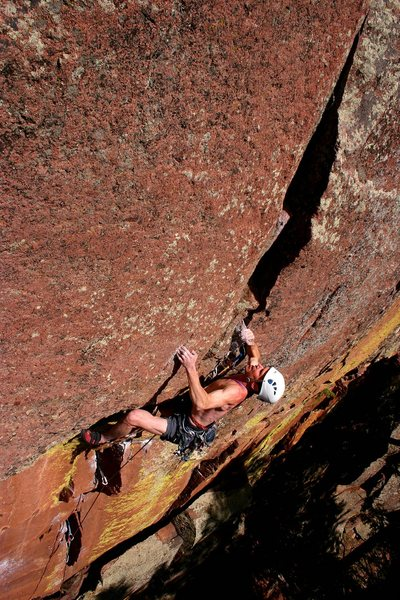 Rock Climbing Photo: Strong Steve setting up for the crux deadpoint.