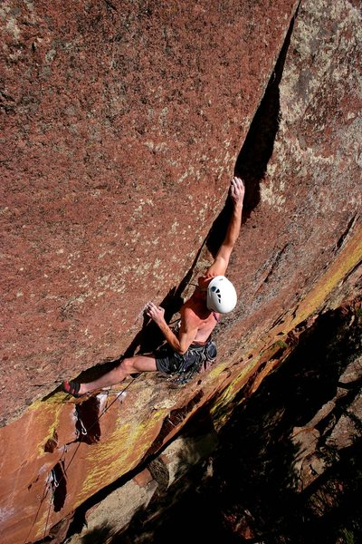 Now that's hard trad climbing!  Steve sticking the sweet, sweet crux move.